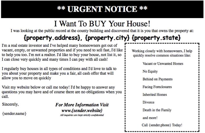 Marketing for pre-foreclosure real estate